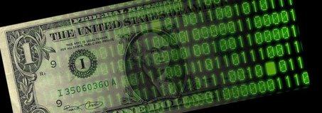 banconota da un dollaro con codice binario su un lato