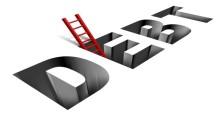 """una scala che esce da un buco che riporta la scritta """"debito"""""""
