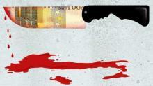 coltello e gocce di sangue che formano l'Italia